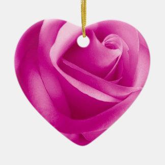 PINK Rose Flower Ceramic Heart Decoration