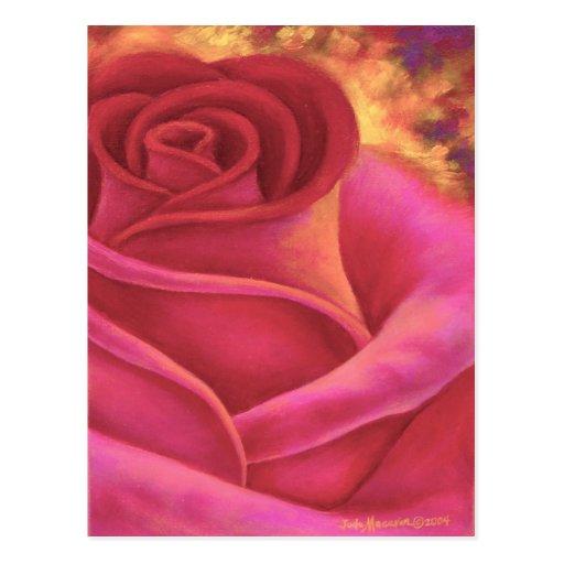 Pink Rose Flower Painting Art - Multi Postcards
