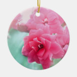Pink rose flower photo ornament