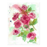 Pink Rose Flower Post Card Watercolor Floral Art