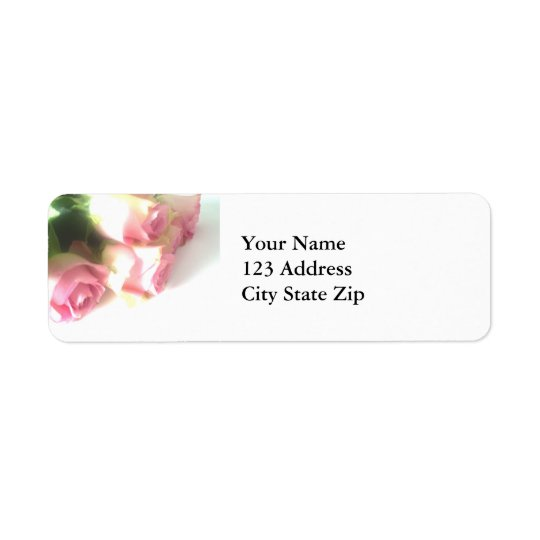 Pink rose flower return address labels