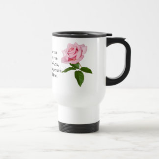Pink Rose Flower with Dew Drops Customizable Stainless Steel Travel Mug