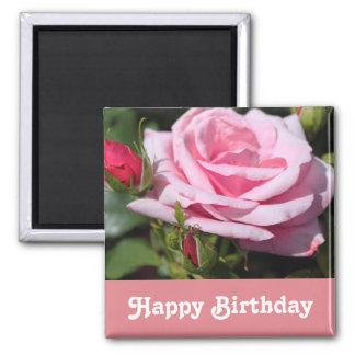 pink rose flowers happy birthday. love, girlfriend square magnet