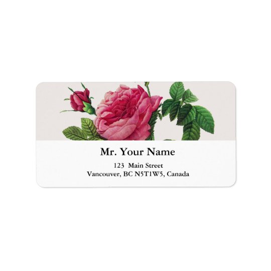 Pink  Rose flowers, Pierre Joseph Redouté Label