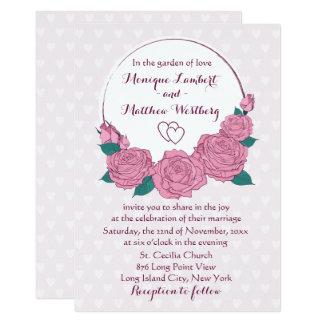 Pink Rose Flowers Purple Lavender & Hearts Wedding Card