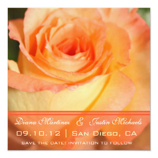 Pink Rose Flowers Save the Date Invite