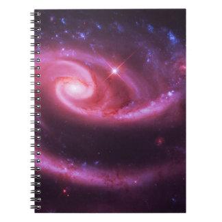 Pink Rose Galaxies Spiral Notebook