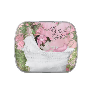 Pink Rose Garden Baby Girl Shower Jelly Belly Candy Tin