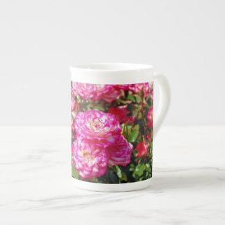 Pink rose garden tea cup