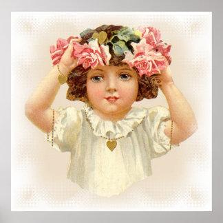 Pink Rose Garland Poster - Great Gift