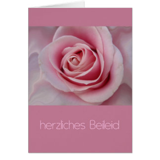 pink rose German sypathy card