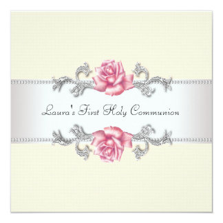 Pink Rose Girls First Communion 13 Cm X 13 Cm Square Invitation Card