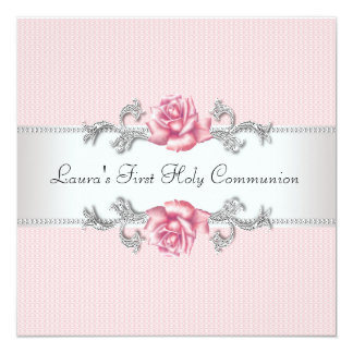 Pink Rose Girls First Communion 13 Cm X 13 Cm Square Invitation Card