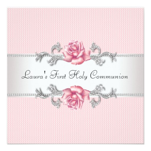 Pink Rose Girls First Communion Personalized Invitations