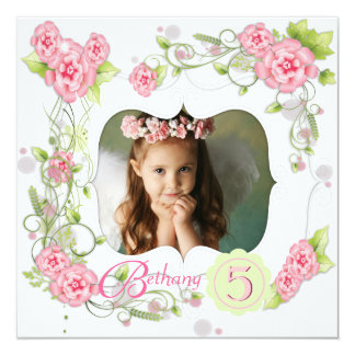 """Pink Rose Girls Photo 5th Birthday Party 5.25"""" Square Invitation Card"""