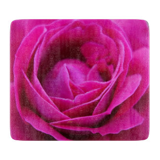 Pink Rose Glass Chopping Board