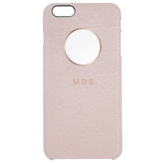 Pink Rose Gold Bezel Faux Textured Personalized Clear iPhone 6 Plus Case