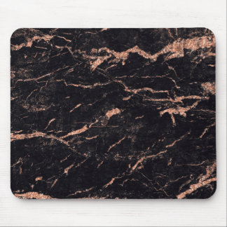 Pink Rose Gold Black Glitter Marble Stone Mouse Mat