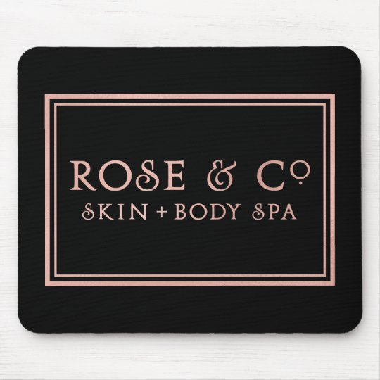 Pink Rose Gold Black Minimal Decor Mouse Mat