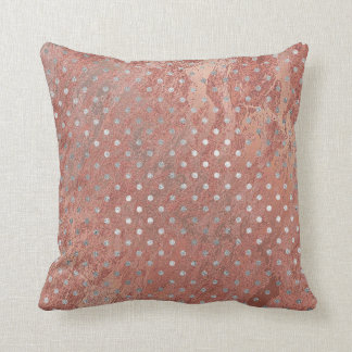 Pink Rose Gold Blush Copper Marbl Silver Gray Dots Cushion