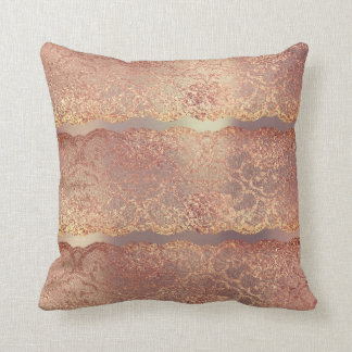 Pink Rose Gold Blush Floral Lace Pearly Pillow