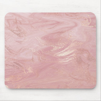 Pink Rose Gold Blush Gold Molten Stone Marble Mouse Mat