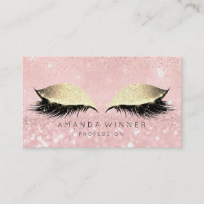 Pink Rose Gold Blush Lashes Makeup Glitter Beauty Appointment Card