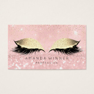 Pink Rose Gold Blush Lashes Makeup Glitter Beauty Business Card