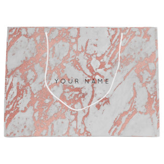 Pink Rose Gold Blush Marble Minimal Gift Gray Large Gift Bag