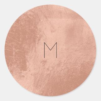 Pink Rose Gold Blush Metallic Copper Monogram Classic Round Sticker