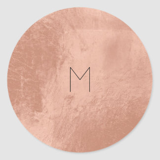 Pink Rose Gold Blush Metallic Copper Monogram Round Sticker