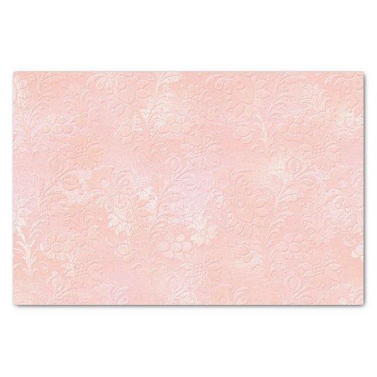 Pink Rose Gold Blush Metallic Floral Royal Tissue