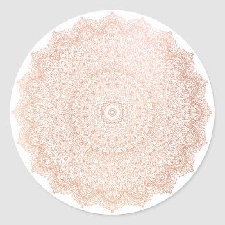 Pink Rose Gold  Blush Metallic Mandala Flower Classic Round Sticker