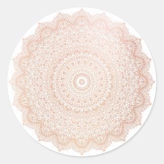 Pink Rose Gold  Blush Metallic Mandala Flower Round Sticker
