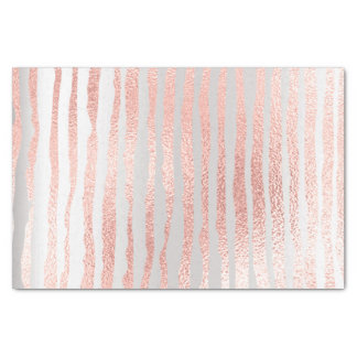 Pink Rose Gold Blush Metallic Peach Silver Strokes Tissue Paper