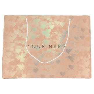 Pink Rose Gold Blush Pearly Hearts Gift Gray Large Gift Bag