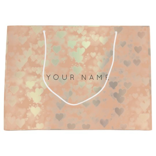 Pink Rose Gold Blush Pearly Hearts Gift Gray