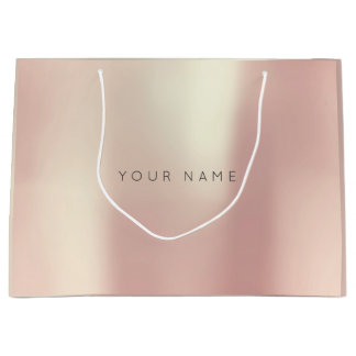 Pink Rose Gold Blush Pearly Minimal Gift Gray Large Gift Bag