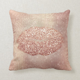 Pink Rose Gold Blush Sequin Kiss Lips Copper Cushion