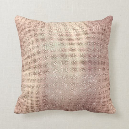Pink Rose Gold Blush Sequin Sparkly Cushion