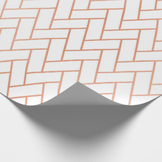 Pink Rose Gold Blush White Bricks  Zig Zag Wrapping Paper