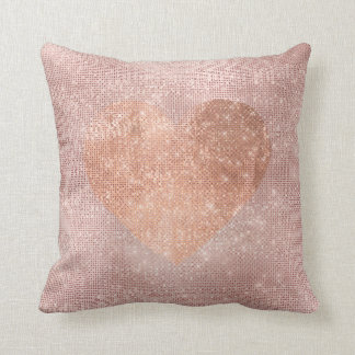 Pink Rose Gold Brush Heart Sequin Sparkly Throw Pillow