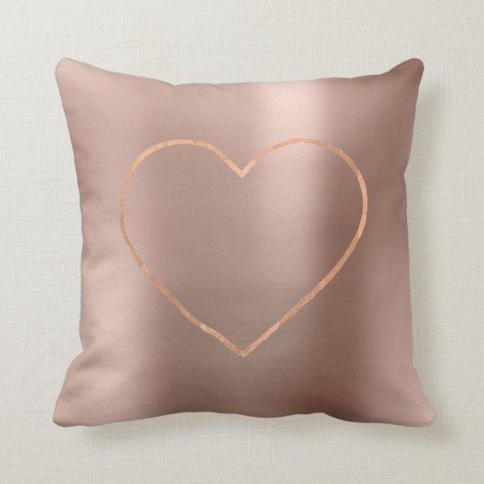 Pink Rose Gold Brush Heart Steel Metallic Cushion