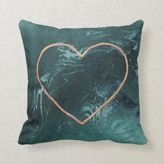 Pink Rose Gold Brush Heart Teal Molten Throw Pillow