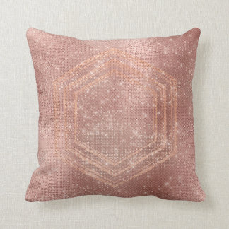 Pink Rose Gold Brush Hexagon Sequin Sparkly Throw Pillow