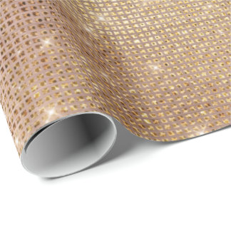 Pink Rose Gold Brush Sparkly Diamond Metallic Wrapping Paper