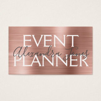 Pink & Rose Gold Brushed Metal Event Planner Business Card