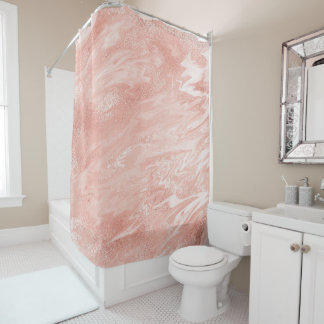 Pink Rose Gold Coral Peach Molten Marble Abstract Shower Curtain