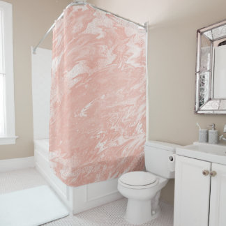 Pink Rose Gold Coral Peach Molten Marble White Shower Curtain