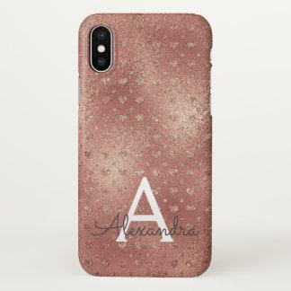 Pink Rose Gold Elegant Heart Pattern Monogram iPhone X Case